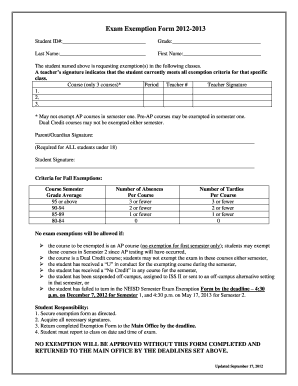 Neisd Exam Exemption Form - Fill Online, Printable, Fillable ...