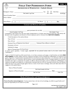 Field Trip Permission Form - Fill Online, Printable, Fillable ...