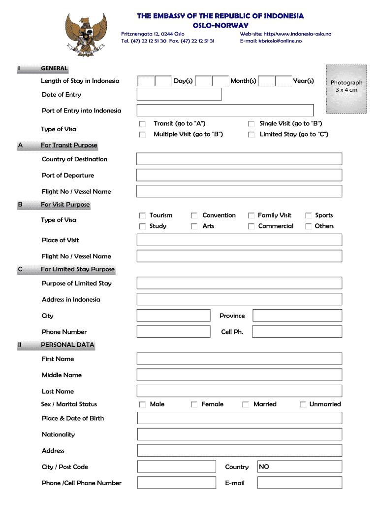 Indonesia Visa Application Form Download Pdf Fill Online Printable Fillable Blank Pdffiller