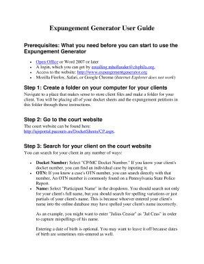 Legal Looking Expungement Form Generator Fill Online Printable - Legal form generator