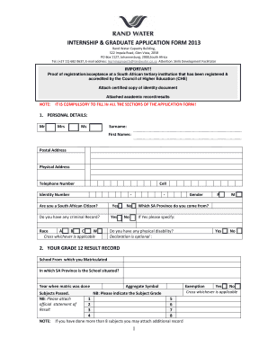Rand Water Application Form - Fill Online, Printable, Fillable ...