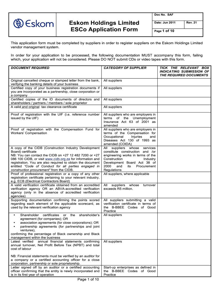 Eskom Supplier Database Forms - Fill Online, Printable