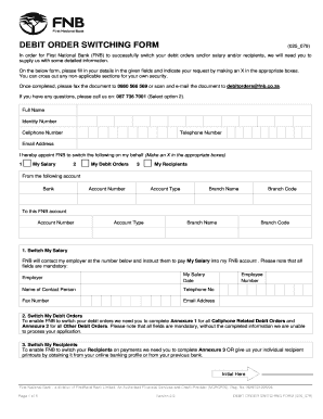 Fnb Debit Switching Form