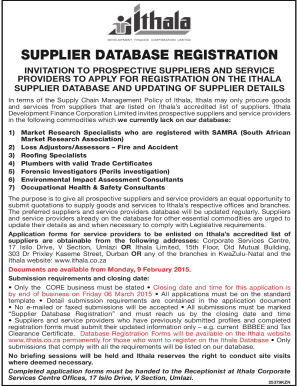 Ithala Supplier Database - Fill Online, Printable, Fillable