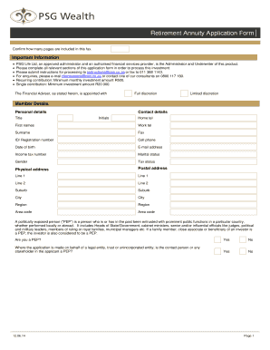 psg retirement annuity form