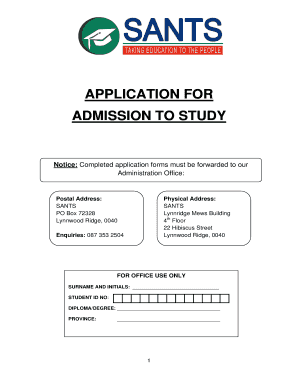 sants application form for 2018