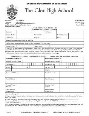 The Glen High School Application Forms 2018