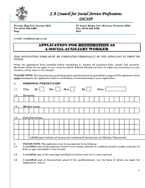 Social Auxiliary Work Registration Form