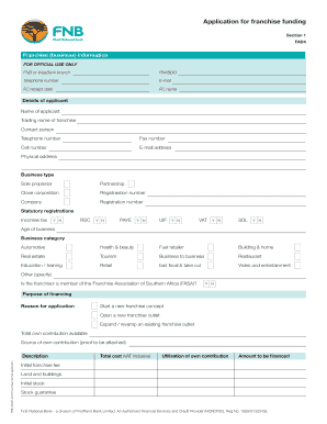 Funding For Franchising Fnb - Fill Online, Printable, Fillable
