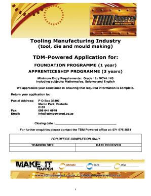 tdm learnership form