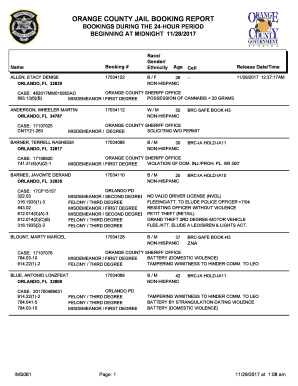 Fillable Online ORANGE COUNTY JAIL BOOKING REPORT Fax Email