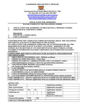Primary Admission Form Format  Format Of Admission Form