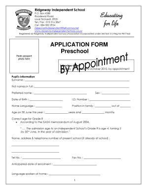 Fillable Online APPLICATION FORM Preschool ...