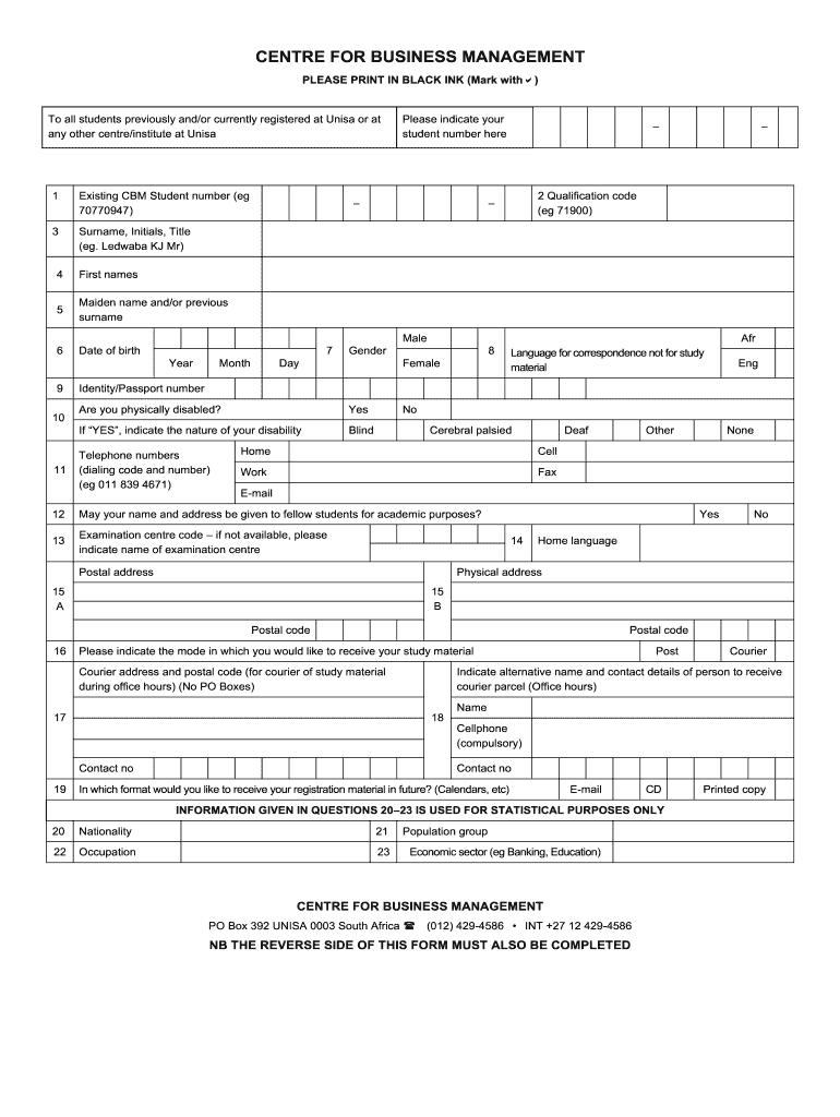 large Online Application Form At Unisa For on
