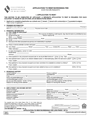 California Association Of Realtors Rental Application - Fill ...