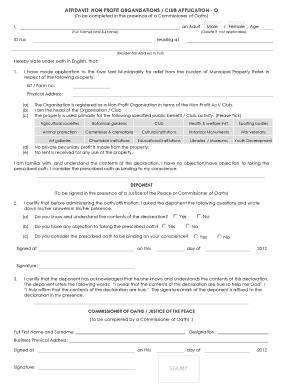 Npo Affidavit - Fill Online, Printable, Fillable, Blank | PDFfiller
