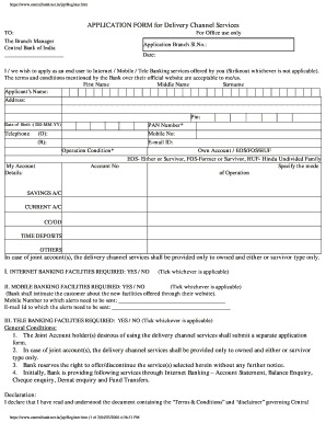 Application Form For Delivery Channel Service Central Bank ... on united bank of india, national bank of india, rbi india, central state bank, union bank of india, oriental bank of india, state bank of india, reserve bank of india,