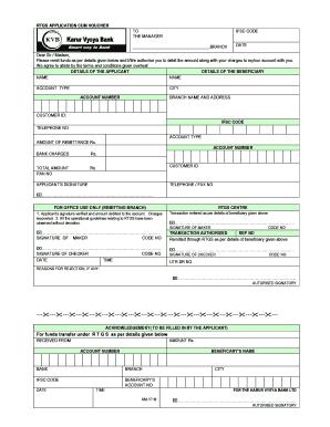 Kvgb Bank Rtgs Form Fill - Fill Online, Printable, Fillable, Blank Online Application Form Of Karur Vysya Bank on