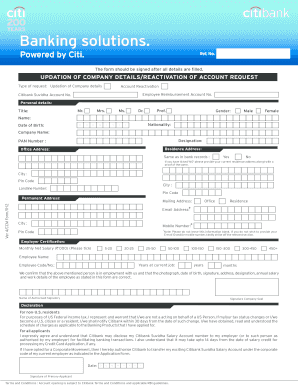 Citibank Account Online >> Citibank Account Opening Form Fill Online Printable
