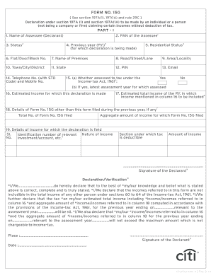 Form 15g Sample - Fill Online, Printable, Fillable, Blank | PDFfiller