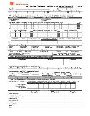 Example Filled Form Of Bank Of Baroda - Fill Online, Printable ...
