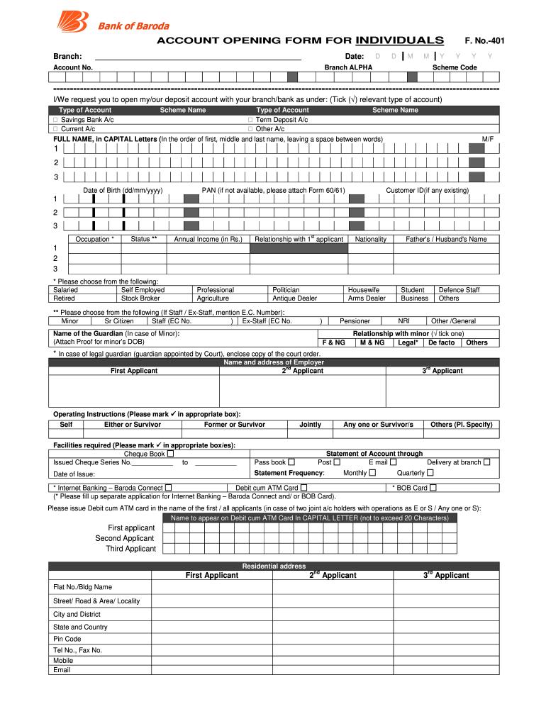 bank of baroda number change form