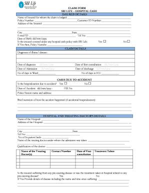 E Meditek Sbi Hospital Cash Claim Forms - Fill Online