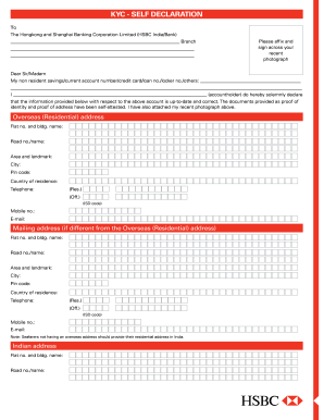Hsbc Bank Kyc Form Fill Online Printable Fillable