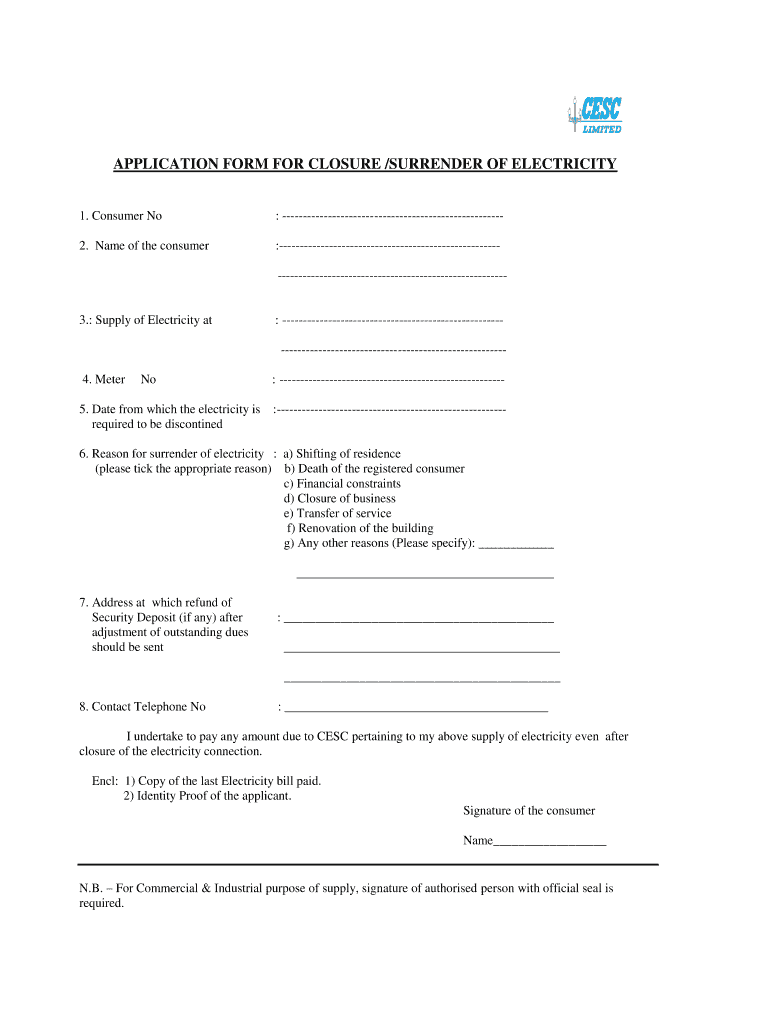 Sample Application For Disconnection Of Electricity Connection