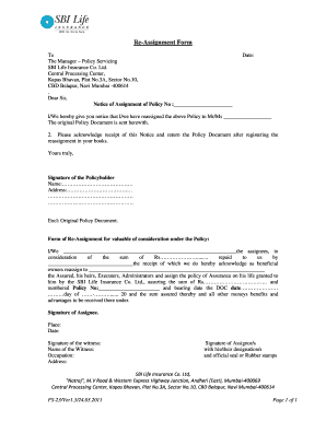 Sbi Life Insurance Assignment Form - Fill Online, Printable ...