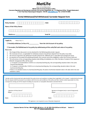 Met Life Insurance >> Metlife Insurance Company Policy Surrender Form Fill