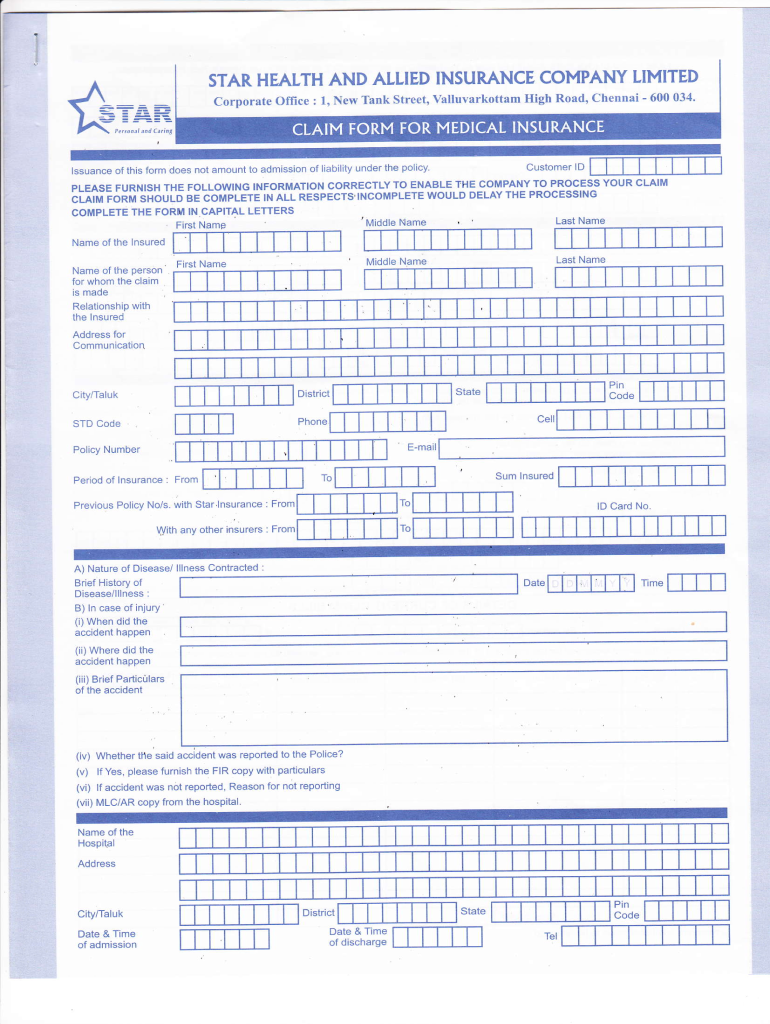 Star Health Claim Form - Fill Online, Printable, Fillable ...