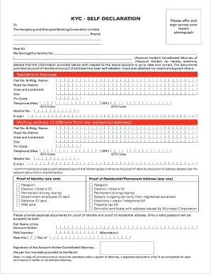 kyc self declaration filled form
