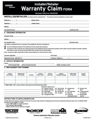 Tenneco Automotive Warranty Claim Form - Fill Online, Printable ...