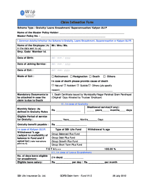 Sbi Life Insurance Claim Intimation Form - Fill Online ...