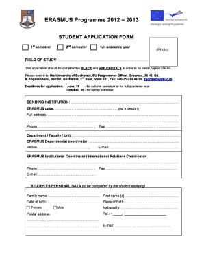 Fillable Online 1 Erasmus Application Form 2012 2013 Doc
