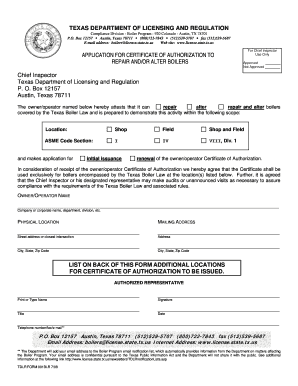 Fillable Online tdlr state tx Form #001BLR - Texas Department of ...