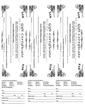 Mary Kay Printable Gift Certificates - Fill Online, Printable ...