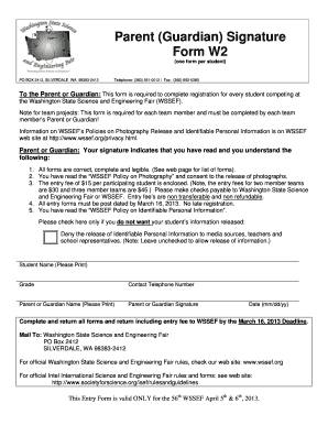 w2 form washington state  Fillable Online Parent (Guardian) Signature Form W13 ...