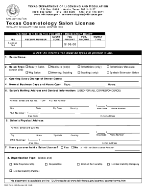 2012 Form TX TDLR COS Fill Online, Printable, Fillable, Blank ...