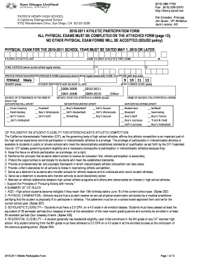 Patrick Henry High School San Diego Physical Form - Fill Online ...