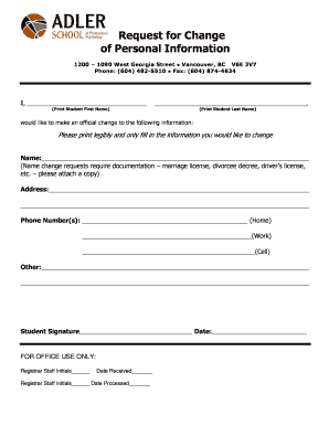 Change Of Personal Information Form - Fill Online, Printable ...