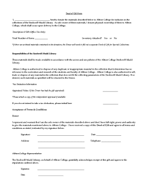 college archives deed of gift form
