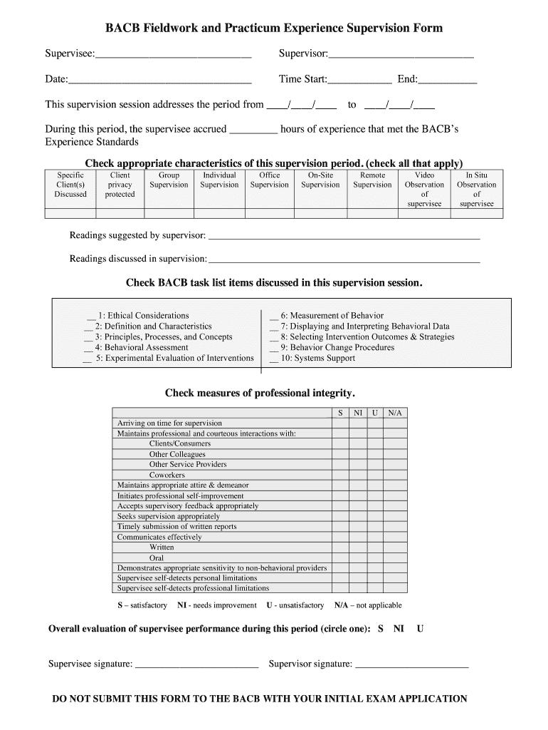 Bacb Fieldworkpdffillercom - Fill Online, Printable