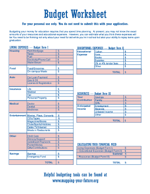 budget worksheets online
