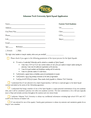 Arkansas Tech University Spirit Squad Application
