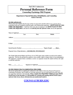 Required Personal Reference Form for COP - Auburn University - education auburn