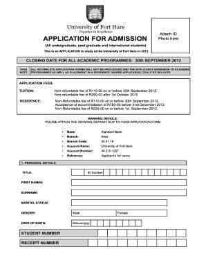 Fort Hare University Online Application 2017 - Fill Online, Printable ...