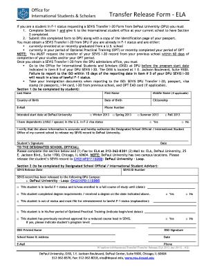 Depaul University International Student I 20 Transfer Form 2013 ...