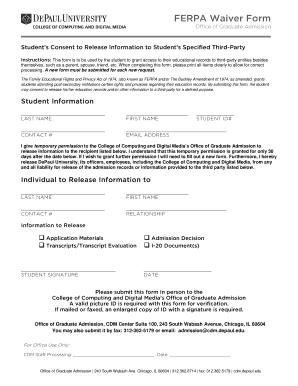 ferpa form reddit  Depaul University Ferpa Waiver - Fill Online, Printable ...